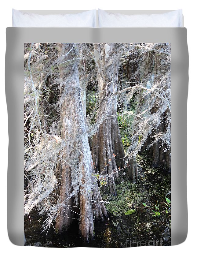 Wind Through Cypresses Duvet Cover featuring the photograph Wind Through The Cypress Trees by Carol Groenen