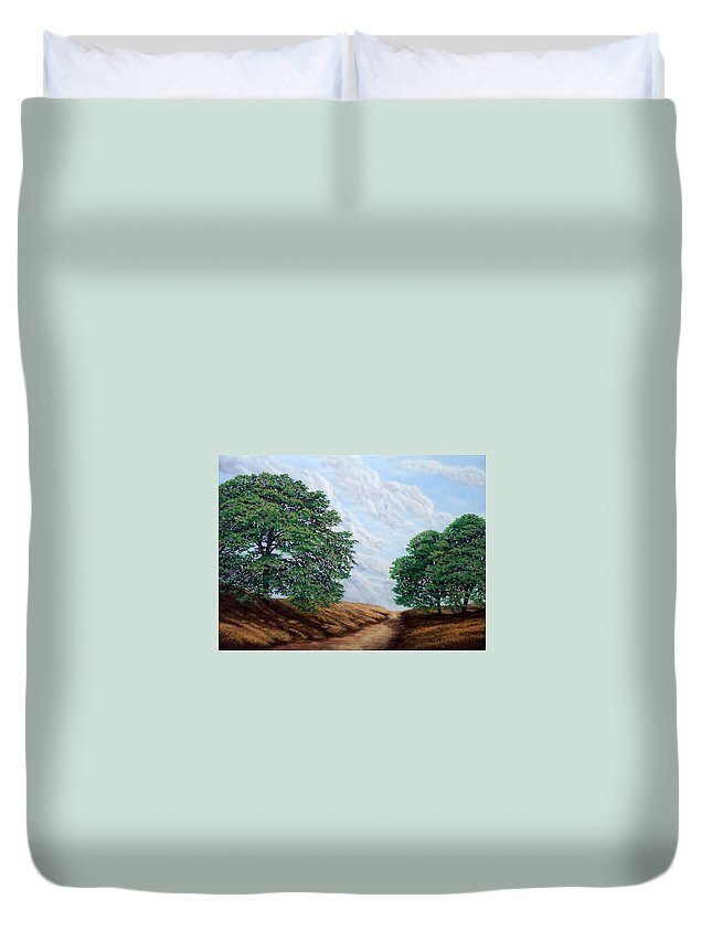 Landscape Duvet Cover featuring the painting Windblown Clouds by Frank Wilson
