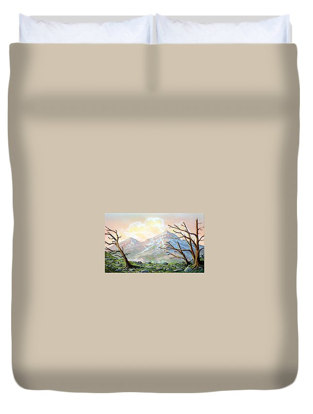 Windblown Duvet Cover featuring the painting Windblown by Frank Wilson