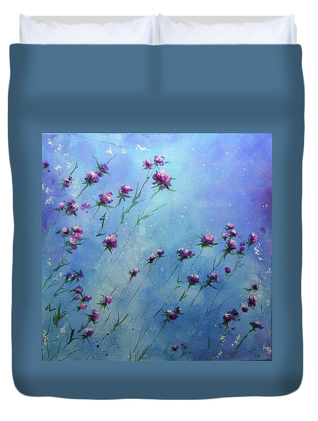 Purple Duvet Cover featuring the painting Windblown by KAT Warren