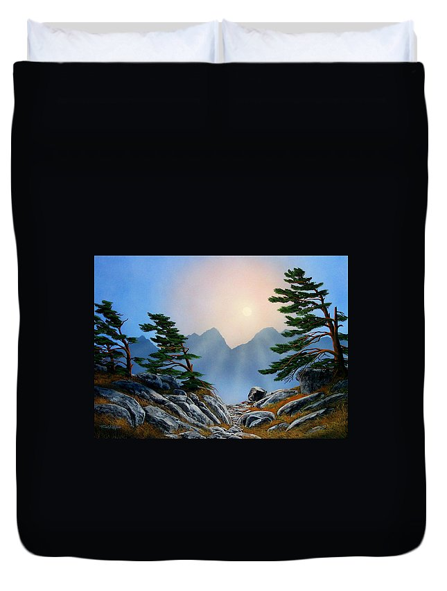 Windblown Pines Duvet Cover featuring the painting Windblown Pines by Frank Wilson