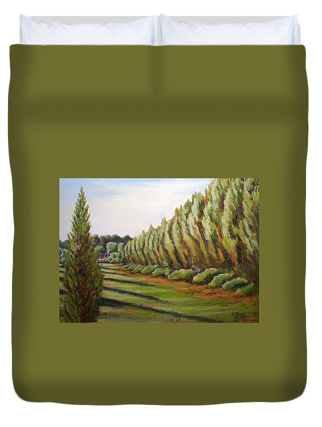 Oil Painting Duvet Cover featuring the painting Windbreak Evening by Karla Beatty