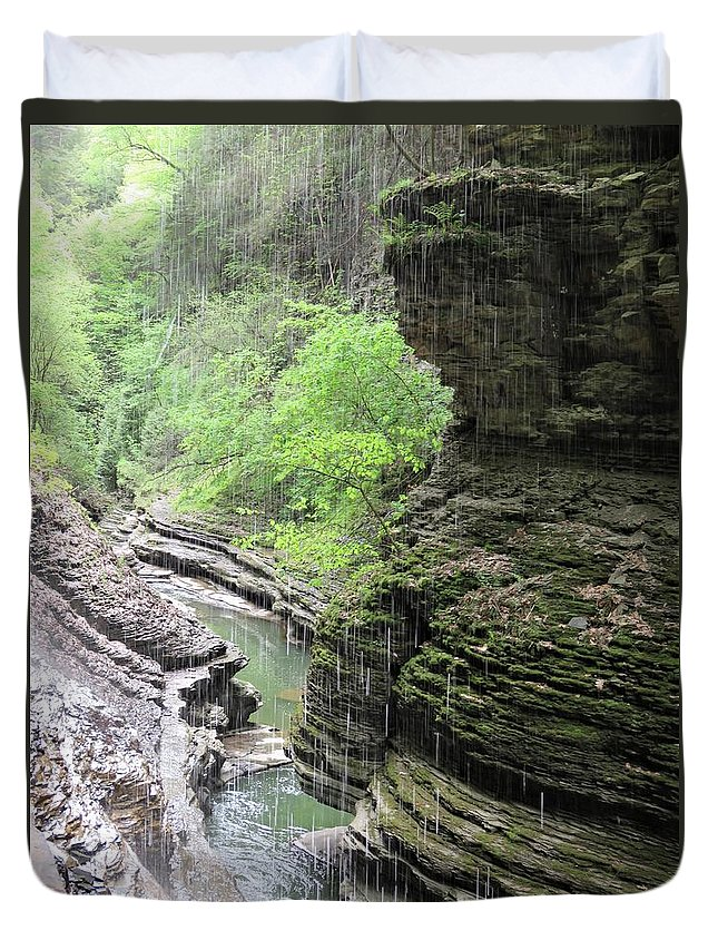 Watkins Glen Duvet Cover featuring the photograph Water Falling Throughout The Gorge by Carol McGrath