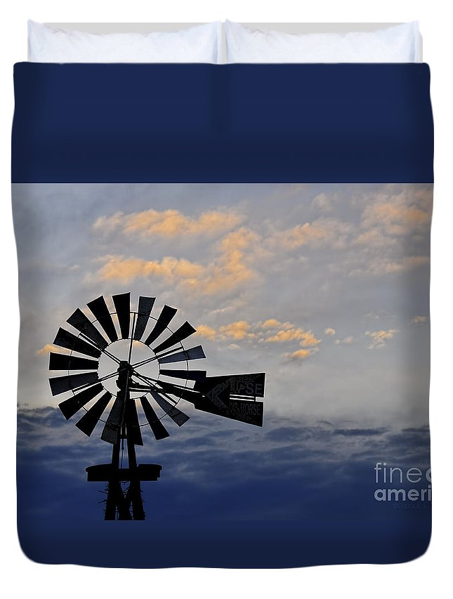 Windmill Duvet Cover featuring the photograph Windmill And Cloud Bank At Sunset by David Arment