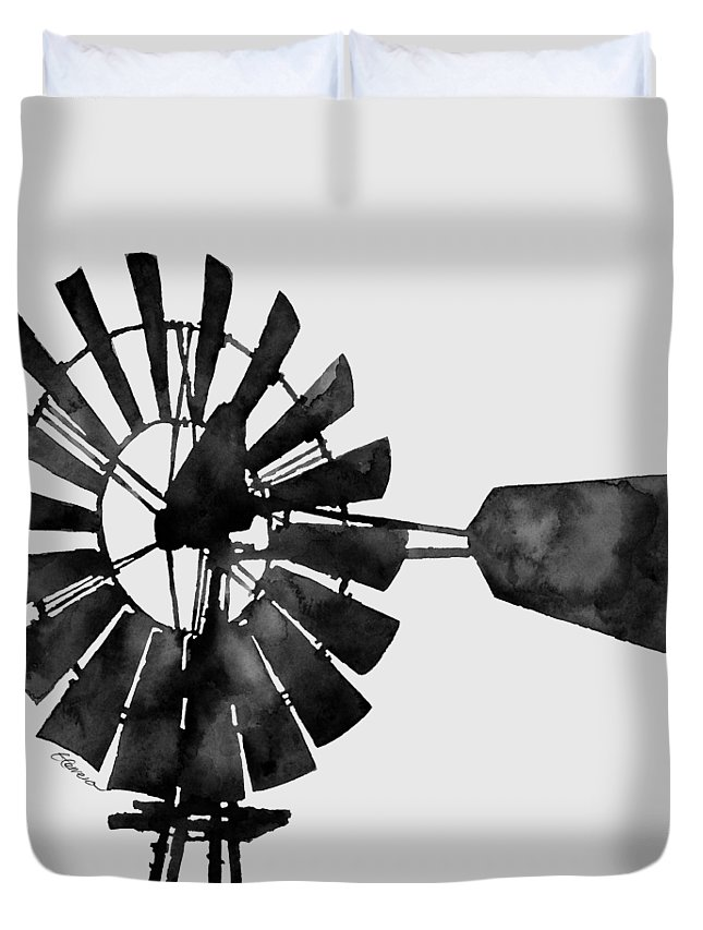 Windmill Duvet Cover featuring the painting Windmill In Black And White by Hailey E Herrera