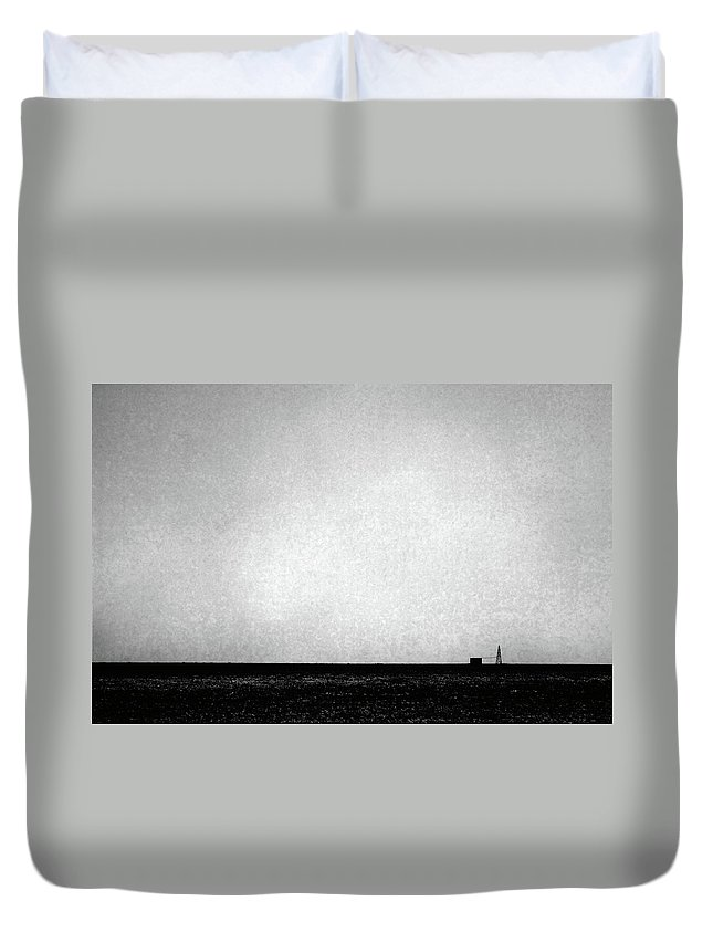 Wasteland Duvet Cover featuring the photograph Windmill In Black And White by Scott Sawyer