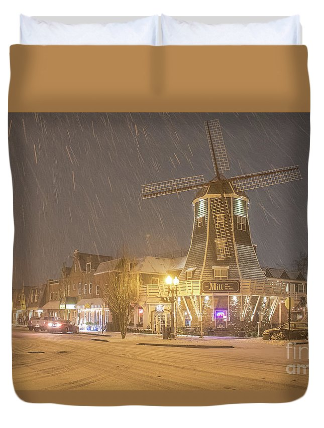 Windmill Duvet Cover featuring the photograph Windmill In The Snow by Randy Small