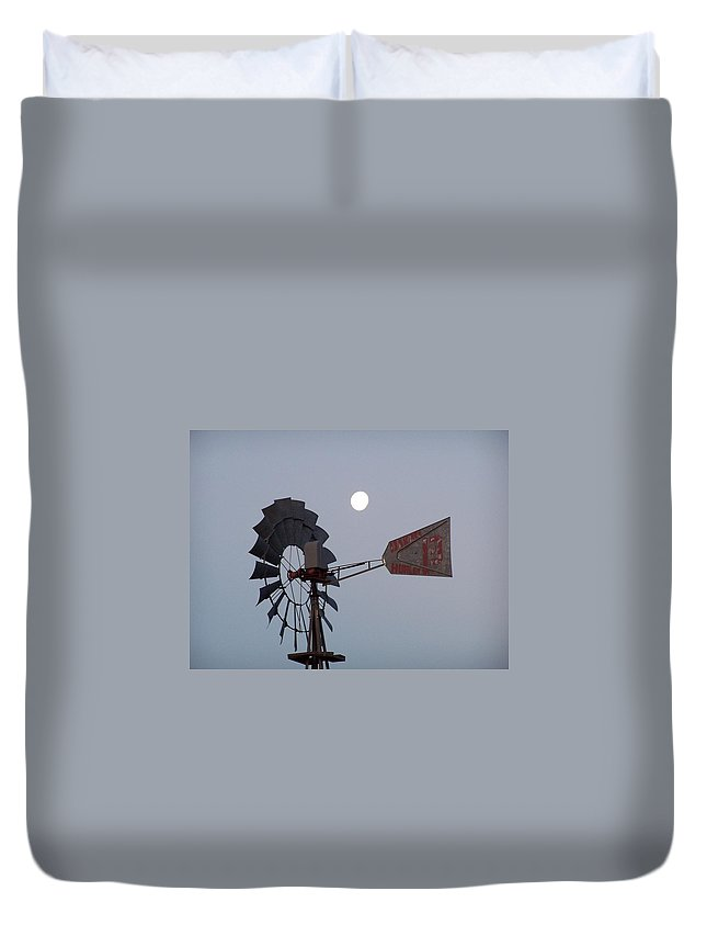 Windmill Duvet Cover featuring the photograph Windmill Moon by Gale Cochran-Smith