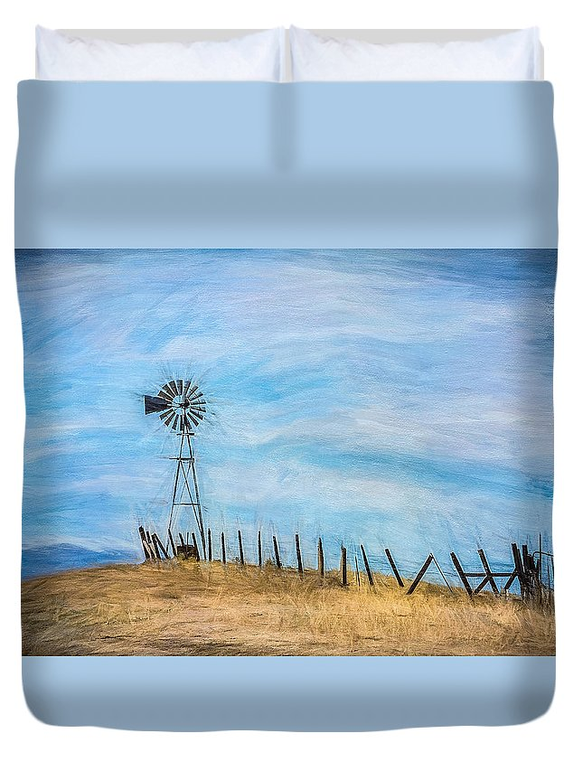 Paintography Duvet Cover featuring the photograph Windmill On The Hill by Sheryl Trunick