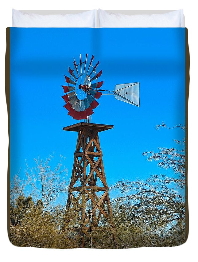 Windmill Duvet Cover featuring the photograph Windmill Tower by Debra Farrey