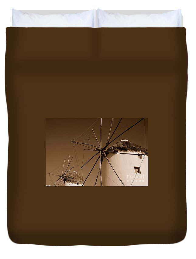 Mykonos Duvet Cover featuring the photograph Windmills In Sepia by Joe Ng