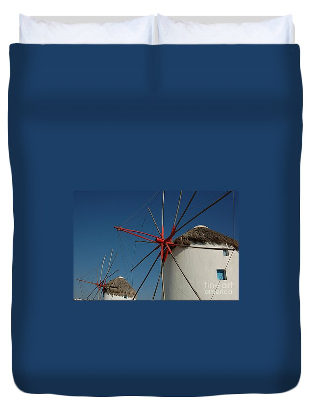 Mykonos Duvet Cover featuring the photograph Windmills by Joe Ng