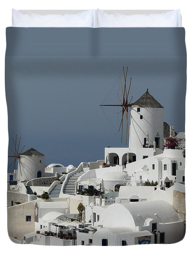 Santorin Duvet Cover featuring the photograph Windmills Of Santorini by Valerie Ornstein