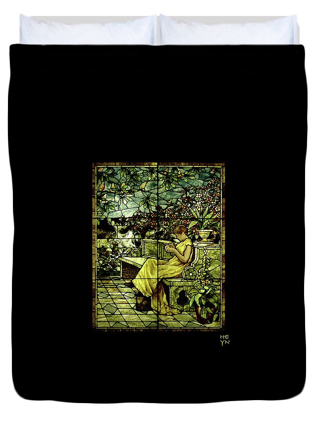 Stain Duvet Cover featuring the photograph Window - Lady In Garden by Shirley Heyn