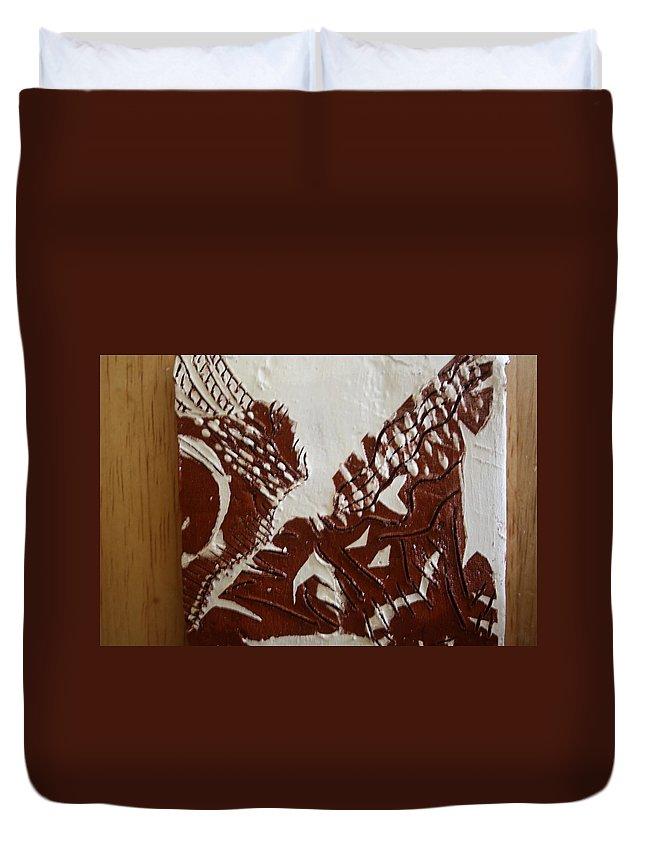 Jesus Duvet Cover featuring the ceramic art Window - Tile by Gloria Ssali