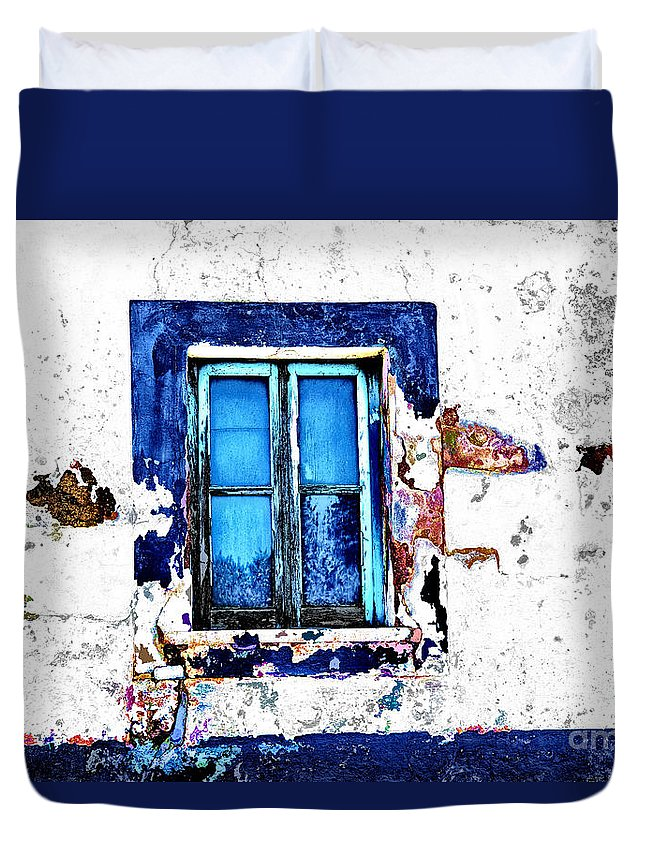 Portugal Small Towns Cityscapes Duvet Cover featuring the photograph Window 17 by Rick Bragan