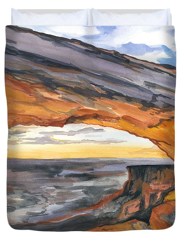 Sunset Duvet Cover featuring the painting Window Arch by Katrina Case