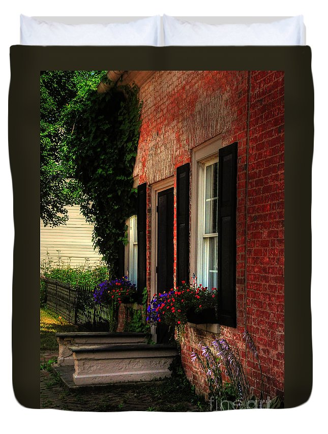 Window Boxes Duvet Cover featuring the photograph Window Boxes by Lois Bryan
