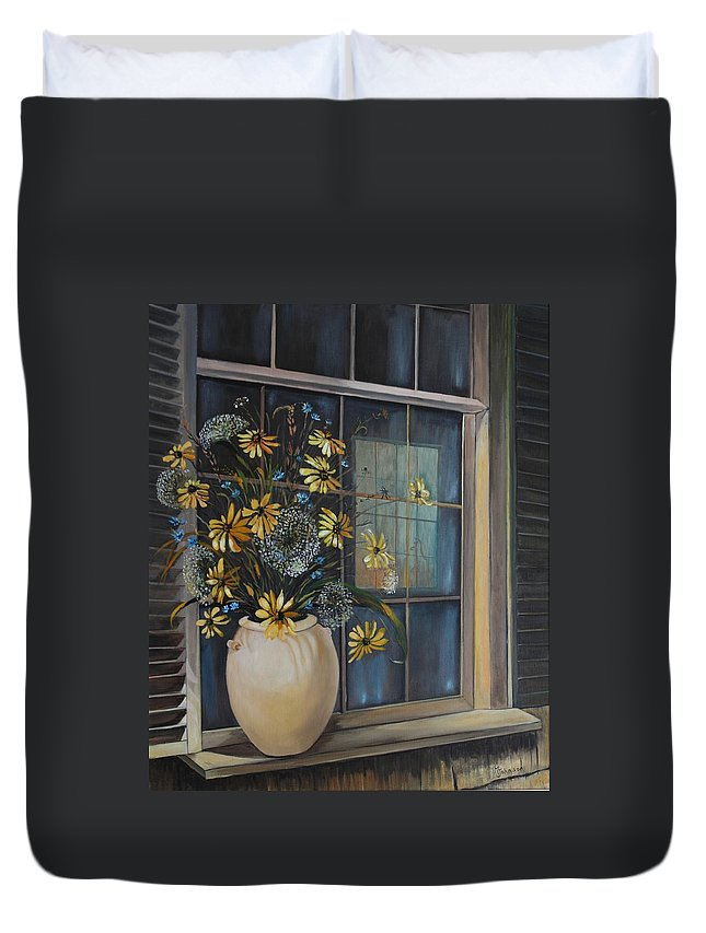 Wild Flowers Duvet Cover featuring the painting Window Dressing - Lmj by Ruth Kamenev