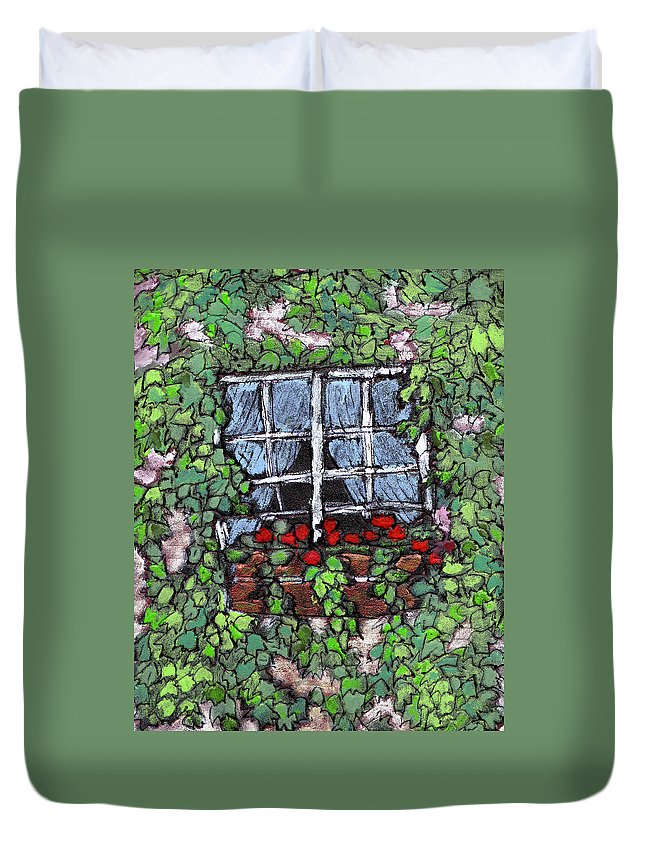 Flowers Duvet Cover featuring the painting Window Flower Box by Wayne Potrafka