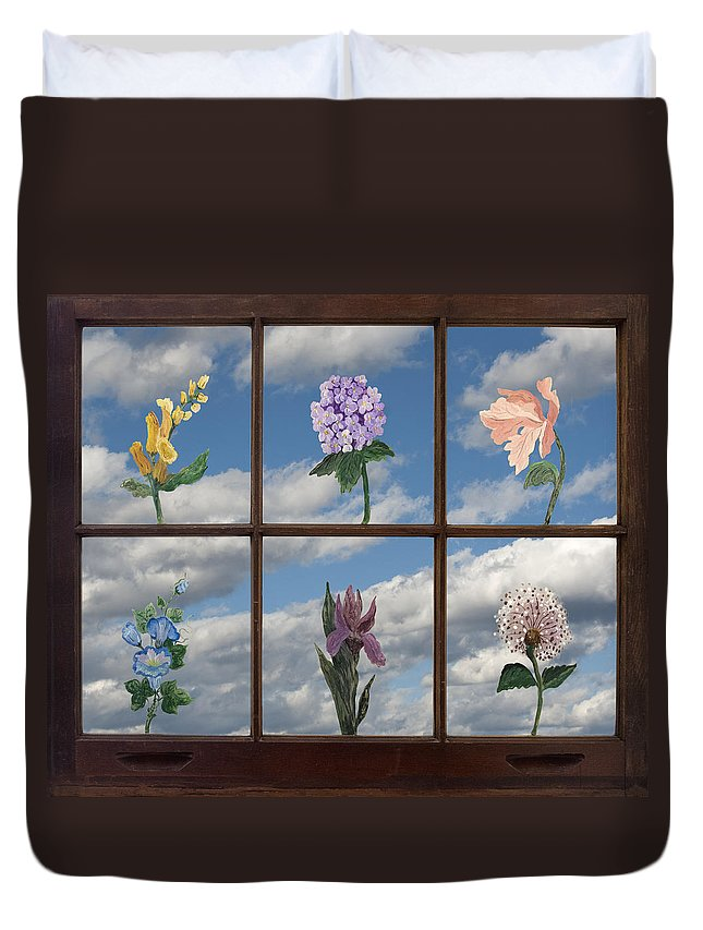 Paint Duvet Cover featuring the photograph Window Garden by Mitch Spence