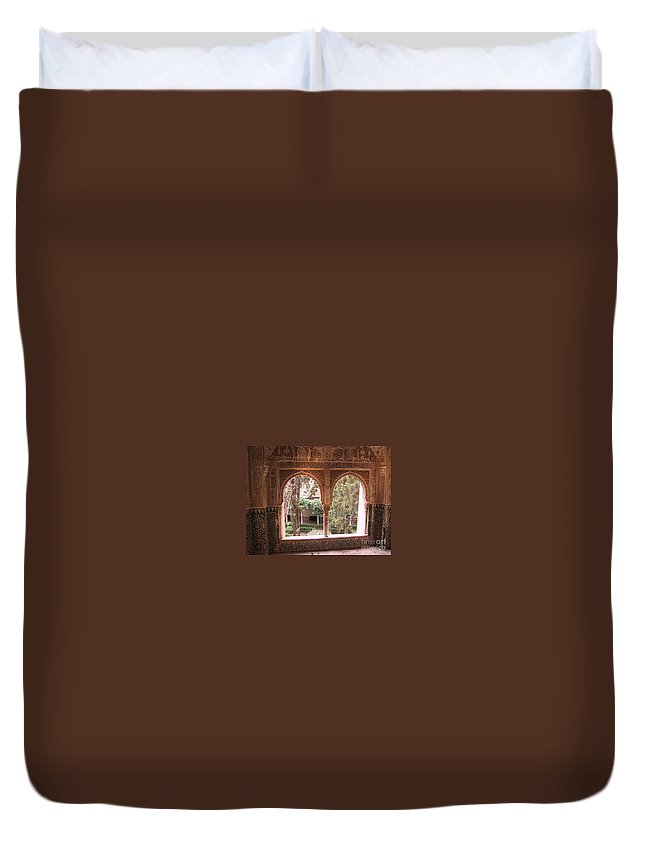 Window Duvet Cover featuring the photograph Window In La Alhambra by Thomas Marchessault