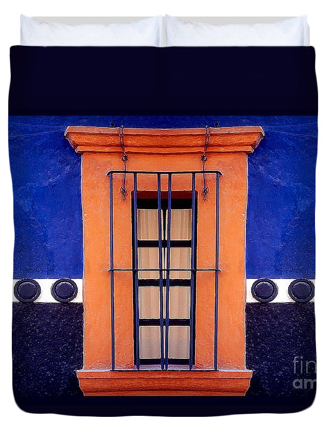 Abstract Duvet Cover featuring the photograph Window In San Miguel De Allende by Linda Parker