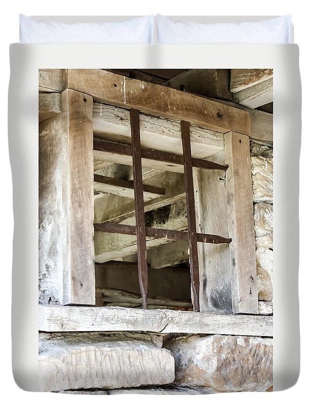 Window In The Amana Farmer's Market Barn Amana Ia Duvet Cover featuring the photograph Window In The Amana Farmer's Market Barn Amana Ia by Cynthia Woods