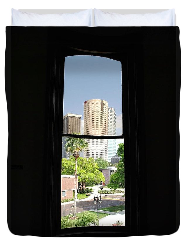 Downtown Duvet Cover featuring the photograph Window Of Downtown by Jost Houk