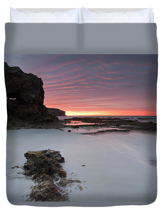 Sunrise Duvet Cover featuring the photograph Window On Dawn by Mike Dawson