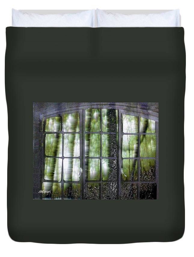 Window On The Woods Duvet Cover featuring the digital art Window On The Woods by Seth Weaver