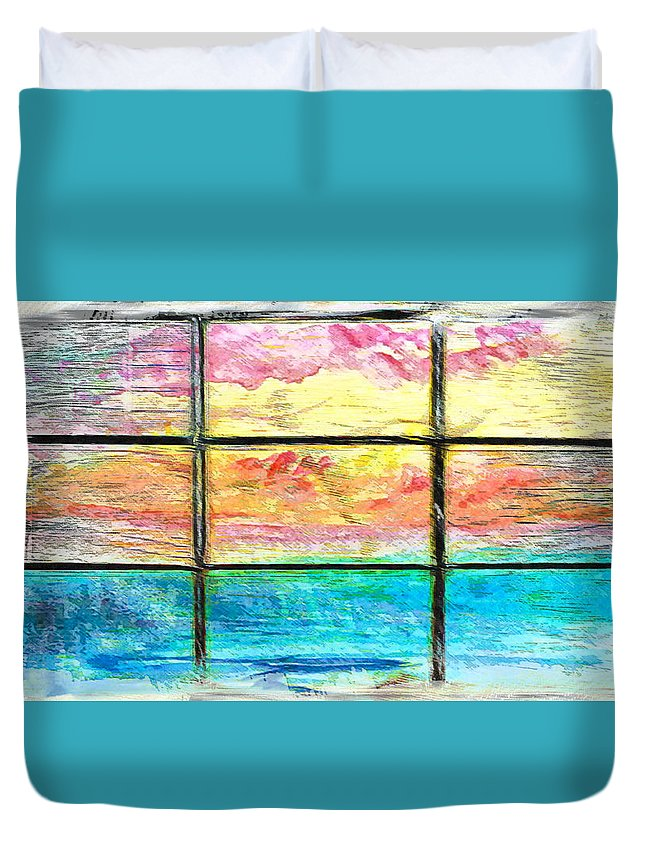Abstract Duvet Cover featuring the photograph Window Scene Abstract by Tom Gowanlock