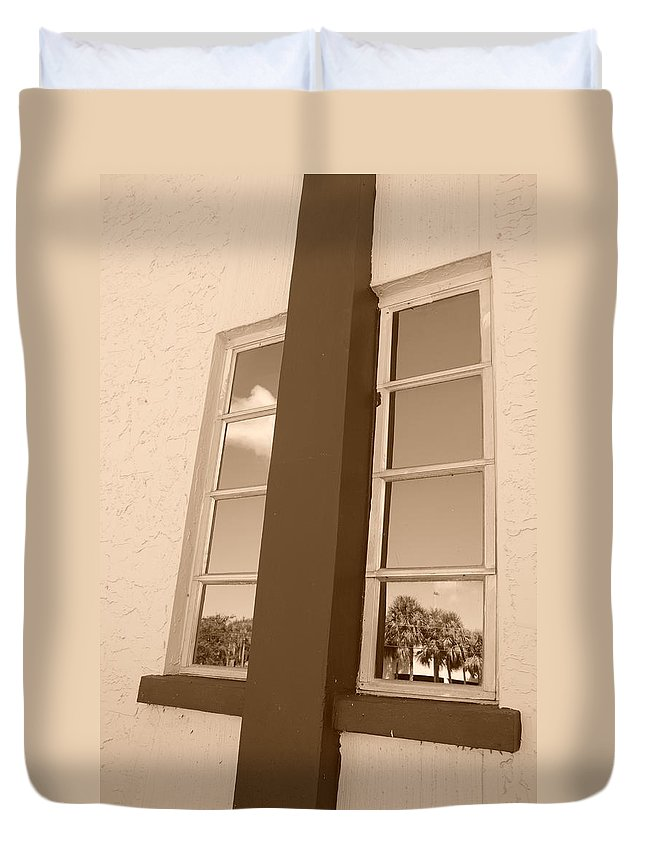 Sepia Duvet Cover featuring the photograph Window T Glass by Rob Hans