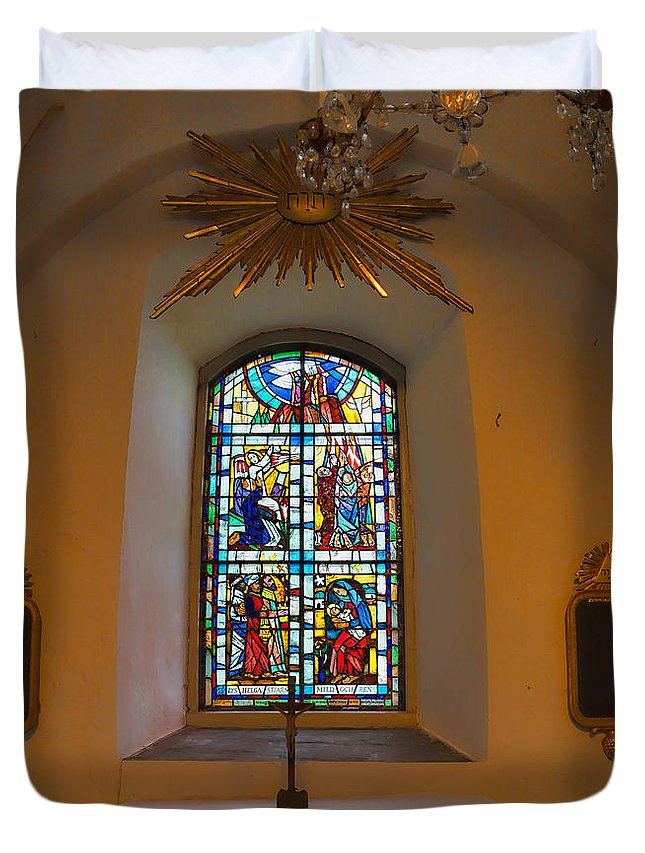 Window Duvet Cover featuring the photograph Window Teda Church by Leif Sohlman
