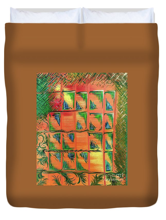 Duvet Cover featuring the painting Window To The Garden by Mary Shawn Newins