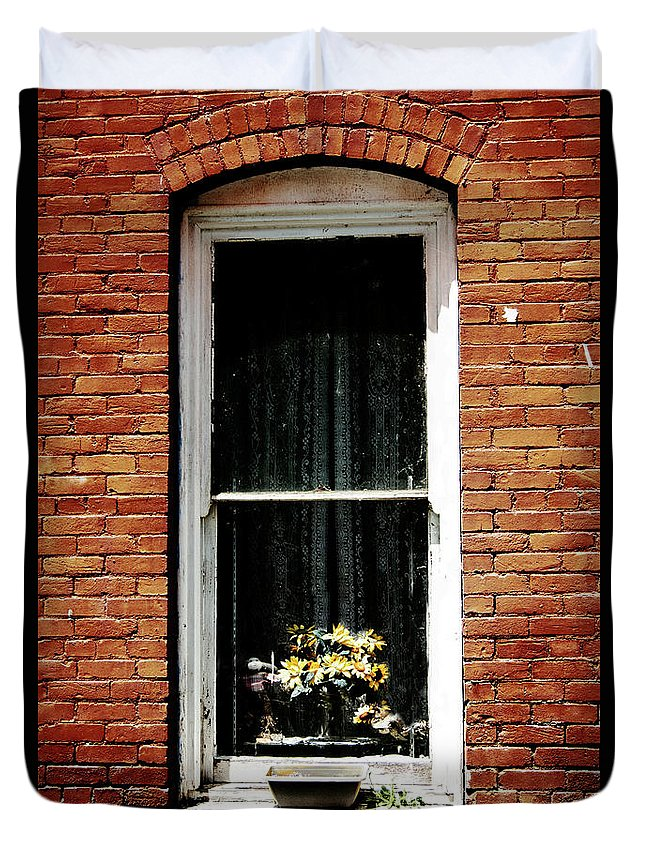 Brick Duvet Cover featuring the photograph Window To The Past by Edmund Mazzola