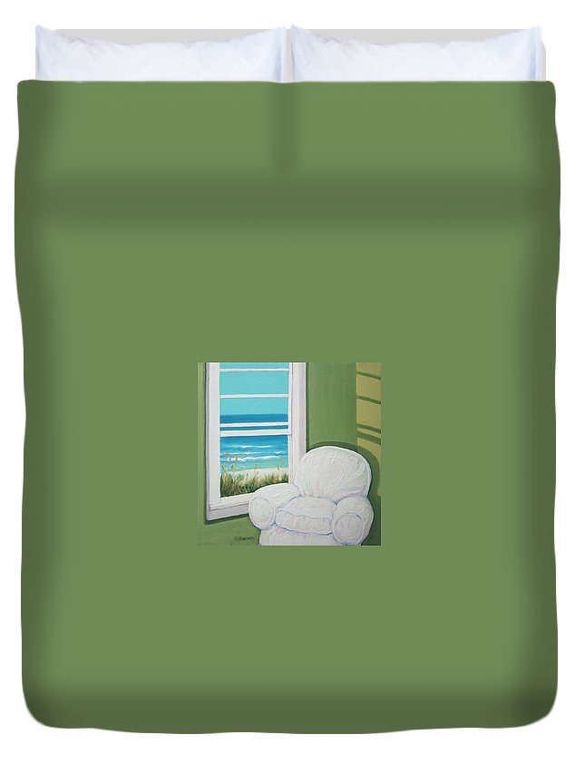 Beach Duvet Cover featuring the painting Window To The Sea No. 2 by Rebecca Korpita