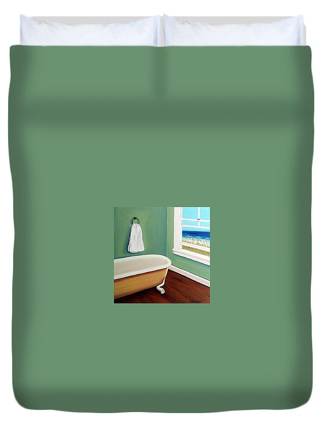 Beach Duvet Cover featuring the painting Window To The Sea No. 4 by Rebecca Korpita
