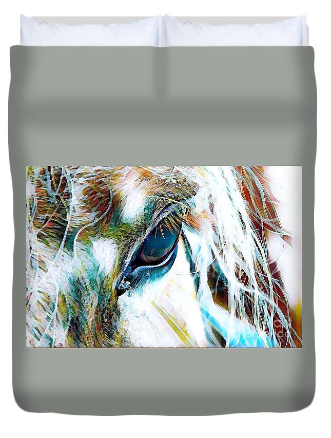 Horse Duvet Cover featuring the mixed media Window To The Soul 2 by Rogue Art