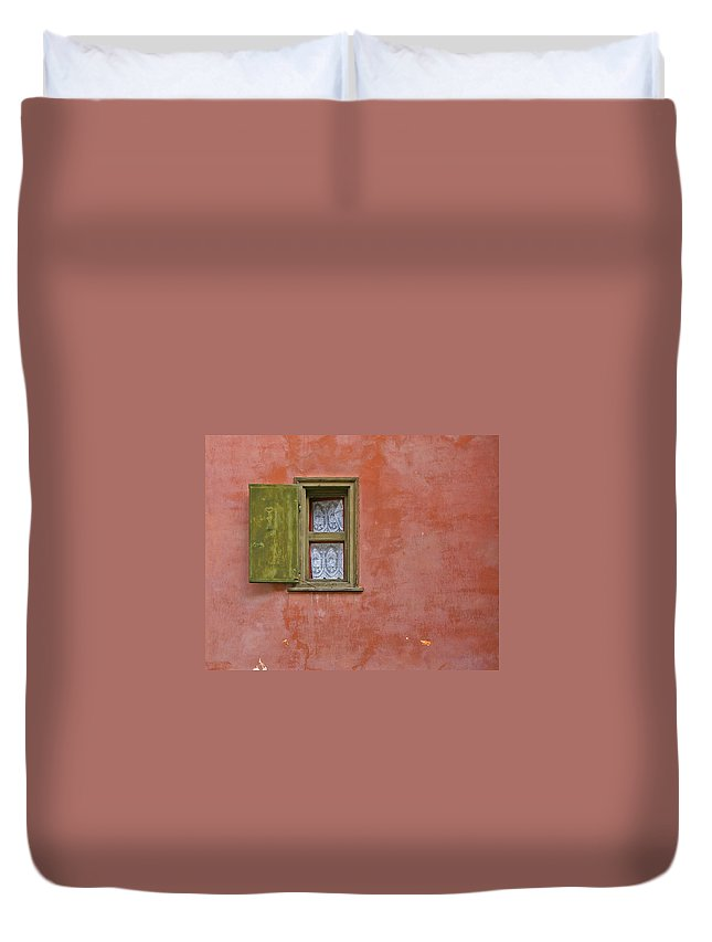 Window Duvet Cover featuring the photograph Window With A Lace Curtain by Tom Reynen