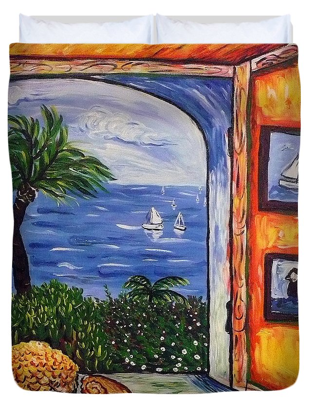 Landscape Duvet Cover featuring the painting Window With Coral by Ericka Herazo