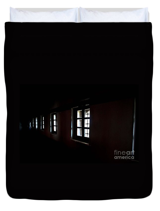 Dark Duvet Cover featuring the photograph Windows by Eena Bo