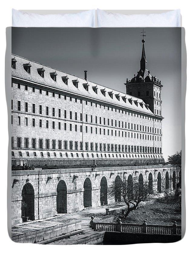 Joan Carroll Duvet Cover featuring the photograph Windows Of El Escorial Spain by Joan Carroll