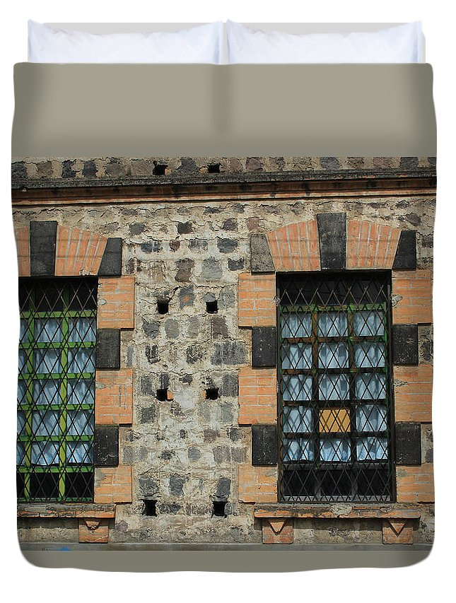 Window Duvet Cover featuring the photograph Windows With Steel Grates by Robert Hamm