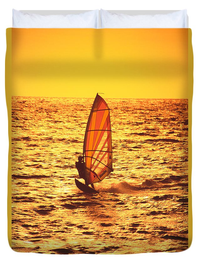Afternoon Duvet Cover featuring the photograph Windsurfer At Sunset by Dave Fleetham - Printscapes