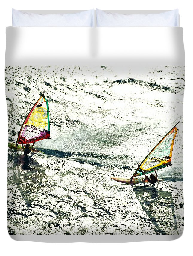 Action Duvet Cover featuring the photograph Windsurfing Silver Waters by Erik Aeder - Printscapes