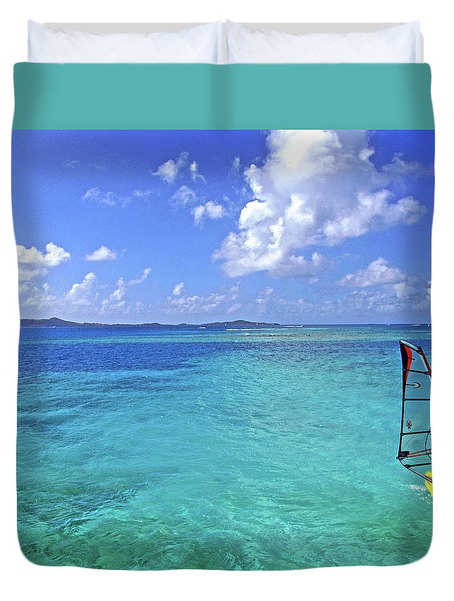 Windsurfing Duvet Cover featuring the photograph Windsurfing The Islands by Scott Mahon