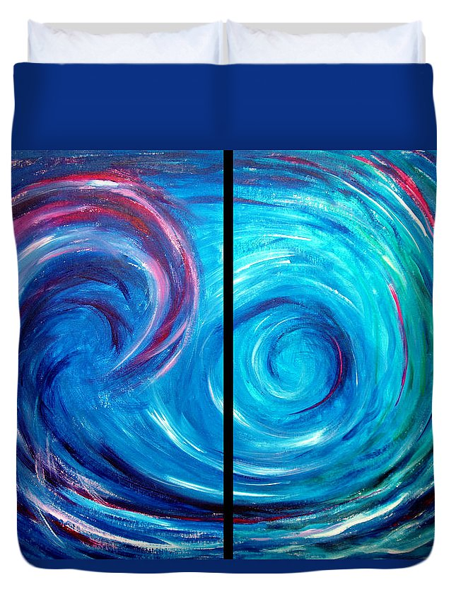 Blue Duvet Cover featuring the painting Windswept Blue Wave And Whirlpool 2 by Nancy Mueller