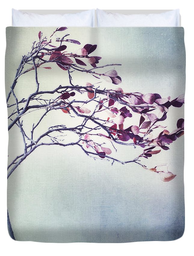Blueberry Branch Duvet Cover featuring the photograph Windswept by Priska Wettstein