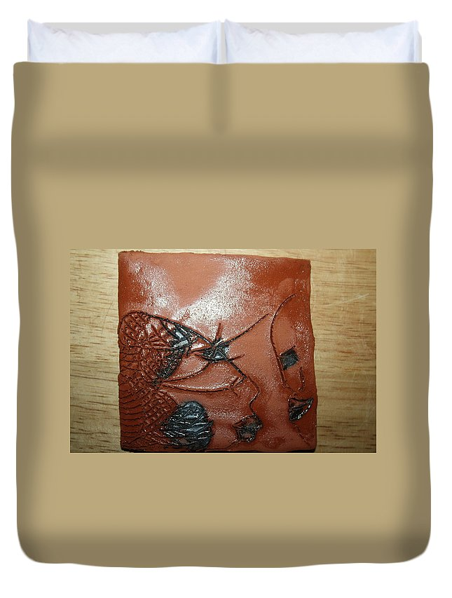 Jesus Duvet Cover featuring the ceramic art Windswept- Tile by Gloria Ssali